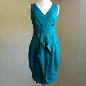 BeBop V-Neck Dark Teal Summer Midi Dress